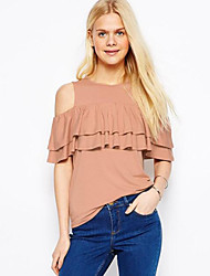 Women's Solid Pink T-shirt,Off Shoulder Short Sleeve