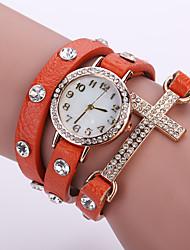 Женские Модные часы Часы-браслет Кварцевый Кожа Группа Цветы Черный Белый Синий Оранжевый Коричневый Розовый