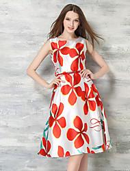 Women's Party/Cocktail Vintage Sheath / Skater Dress,Floral Round Neck Knee-length Sleeveless White Silk Summer