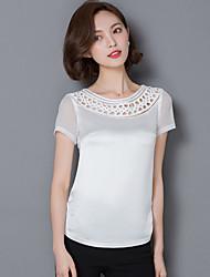 Damen Solide Street Schick Lässig/Alltäglich T-shirt,Rundhalsausschnitt Sommer Kurzarm Rosa / Weiß / Schwarz / OrangeBaumwolle /