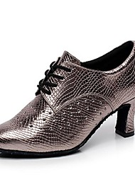 Customizable Women's Dance Shoes Latin Leatherette Stiletto Heel Black / Silver / Gray