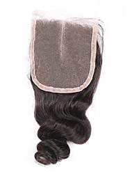 8 10 12 14 16 18 20inch Натуральный чёрный (#1В) Изготовлено вручную Свободные волны Человеческие волосы закрытие Умеренно-коричневый