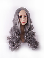 Women Long Deep Wave Synthetic Hair Wigs Granny Grey with Free Hair Net