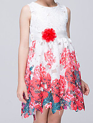Girl's Cotton Summer Colour Flower Hem And Flower Adornment  Lace Dress