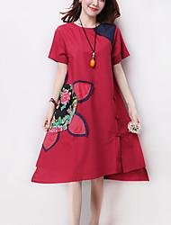 Women's Vintage Ethnic Print Patchwork A Line / Loose Dress,Casual Round Neck Asymmetrical Applique Cotton / Linen
