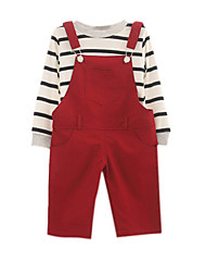 Girl's Red Clothing Set,Stripes Cotton Winter