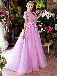 Formal Evening Dress - Floral Ball Gown Scoop Court Train Satin Tulle with Appliques Feathers / Fur Flower(s) Ruffles