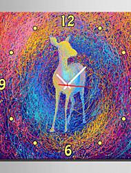 Carré Moderne/Contemporain Horloge murale,Animaux Toile40 x 40cm(16inchx16inch)x1pcs/ 50 x 50cm(20inchx20inch)x1pcs/ 60 x