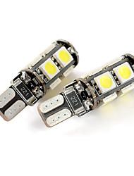 exled t10 1.8W 144lm 9 cms 5050 LED blanche lampe de jeu de voiture de lumière (12v / paire)