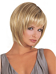 10inch Women Short Beige Blonde Tone Straight Full Bang Synthetic Hair Wigs with Free Hair Net