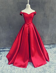 Formal Evening Dress-Ruby A-line Off-the-shoulder Floor-length Satin