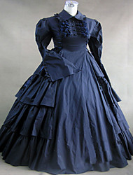 One-Piece/Dress Gothic Lolita Classic/Traditional Lolita Steampunk® Cosplay Lolita Dress Solid Long Sleeve Long Length Dress ForCotton