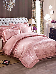Jade Luxury Silk Cotton Blend Duvet Cover Sets Queen King Size Bedding Set
