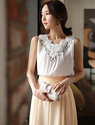 DABUWAWA® Women's Crew Neck Sleeveless Shirt & Blouse White-D15BST078
