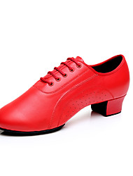 Women's Dance Shoes Latin Leather Low Heel Black / Red