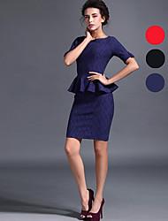 Baoyan® Femme Col Arrondi Manche Courtes Au dessus des genoux Robes-150006