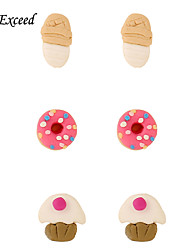 D Exceed Fashion Accessories Stud Earring Pack Set 3Pairs  Ice Cream Doughnut Lovely Earring Gift For Girl
