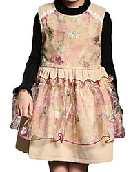 Robe Fille de Printemps / Automne Polyester Marron / Rose / Rouge