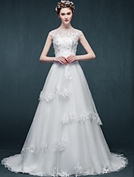 A-line Wedding Dress Chapel Train Bateau Tulle with Appliques / Beading