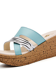 Women's Shoes Leather Wedge Heel Wedges / Creepers / Slippers Sandals / Slippers Casual Black / Blue / Pink