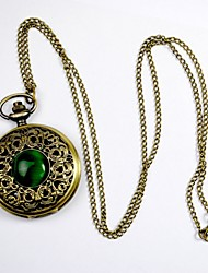 Classic Green Cat Large Palace Carved Hollow Flip Pocket Watch