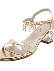 Women's Shoes Synthetic Chunky Heel Open Toe Sandals Dress Gold