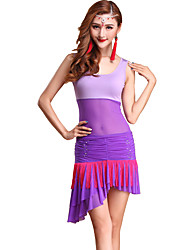 Belly Dance Outfits Women's Training Tulle / Modal Draped 2 Pieces Fuchsia / Purple / Red / White Belly Dance Sleeveless Natural