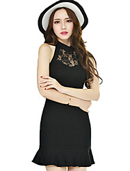Women's Sexy Patchwork Little Black Dress,Halter Mini Polyester