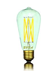 6W E26/E27 B22 E26 Ampoules Globe LED ST64 6 COB 300-550 lm Blanc Chaud Gradable Décorative AC 100-240 AC 110-130 V 1 pièce