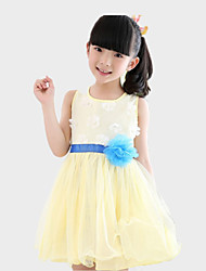 Girl's White / Yellow Dress,Patchwork Polyester Summer / Spring