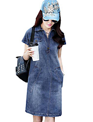 Women's Simple / Street chic Solid Classic Slim Hin Thin Sheath Denim Dress,Shirt Collar Above Knee