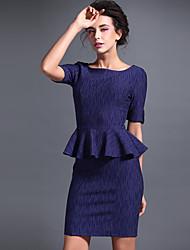 Baoyan® Women's Round Neck Short Sleeve Above Knee Dress-150006