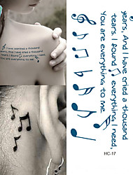 HC1017 Women Sexy Shoulder Temporary Tattoo Musical Notes Design Fake Tattoo