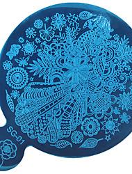 1PC DIY Blue Film Nail Art The Mirror Printing Template