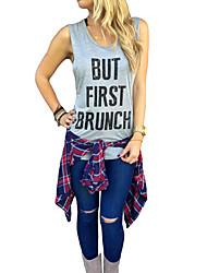 Tee-shirt Aux femmes,Couleur Pleine Décontracté / Quotidien simple Sans Manches Col en U Gris Coton Fin