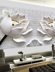 shinny Leder Effekt großes Wandtapete 3D Lotus Kunst Wanddekor für Wohnzimmer tv SOAF Hintergrund