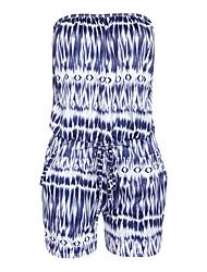 Women's Print Blue / Brown / Orange Jumpsuits,Simple Boat Neck Sleeveless Print Randomly