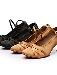 Customizable Women's Dance Shoes Latin / Samba/Ballroom Satin Customized Heel Black / Brown