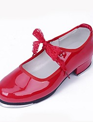 Non Customizable Women's Dance Shoes Tap Patent Leather Low Heel Red / White