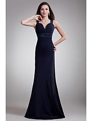 Formal Evening Dress - Open Back Sheath / Column Sweetheart Floor-length Chiffon with Beading Side Draping