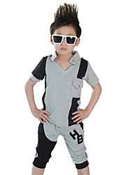Boy's Cotton Summer Casual Color Matching Sport Clothes Set