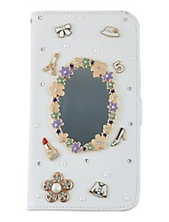 Handmade Bling Diamond Crystal Jewel PU Leather Case With Card Slots and Magnetic Closure For iPhone5/5s/SE