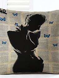 Novelty Shadow Girl Pattern Linen Pillowcase Sofa Home Decor Cushion Cover (18*18inch)