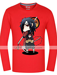 Inspired by Naruto Sasuke Uchiha Anime Cosplay Costumes Cosplay Tops/Bottoms Print Red Long Sleeve Top