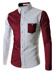 Men's Long Sleeve Shirt,Cotton Work Patchwork