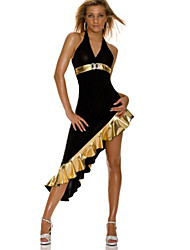 Sexy Black Asymmetrical Dress Latin Dance Party Costume