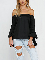 Women's Solid White / Black Blouse,Boat Neck ¾ Sleeve
