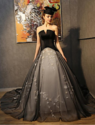 Princess Wedding Dress Wedding Dresses in Color Chapel Train Strapless Taffeta / Tulle with Appliques / Embroidered / Flower