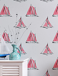 Contemporary Wallpaper Art Deco 3D Sailing Wallpaper Wall Covering Non-woven Fabric Wall Art