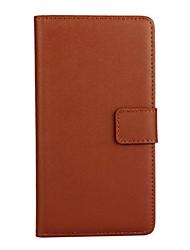 carpeta de la caja del cuero genuino de lujo caja de cuerpo completo con el color sólido soporte para Huawei p8 Lite